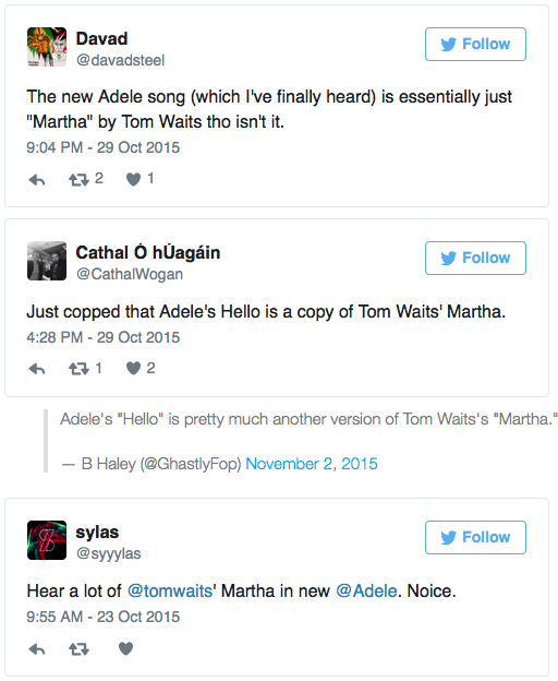Did Adele Rip Off Tom Waits In Hello Take A Listen Music News