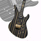 Schecter Guitar Research Announces The Black and Gold Synyster Custom Sustainiac to Its Guitar Line for 2014