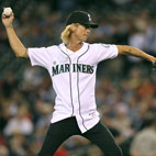 Duff McKagan Throws Out First Pitch At Seattle Mariners Game
