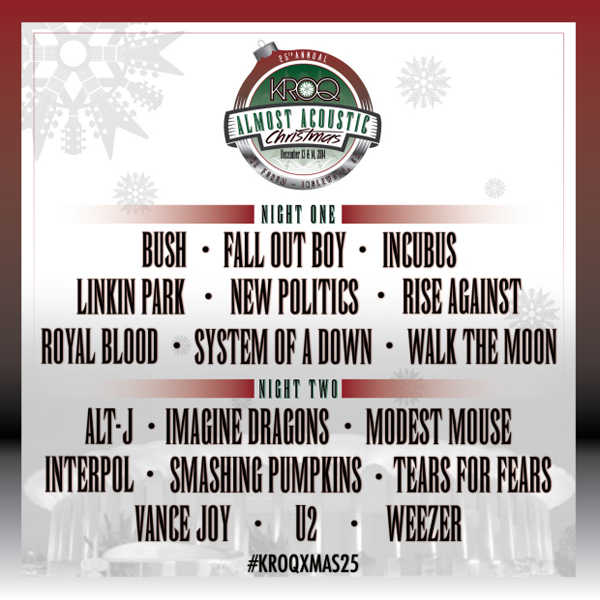 Kroq Acoustic Christmas 2021 Lineup Soad Interpol Linkin Park And Weezer To Play Kroq Almost Acoustic Christmas 2014 Music News Ultimate Guitar Com