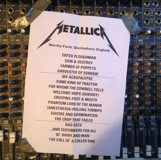 Metallica Tour Song List