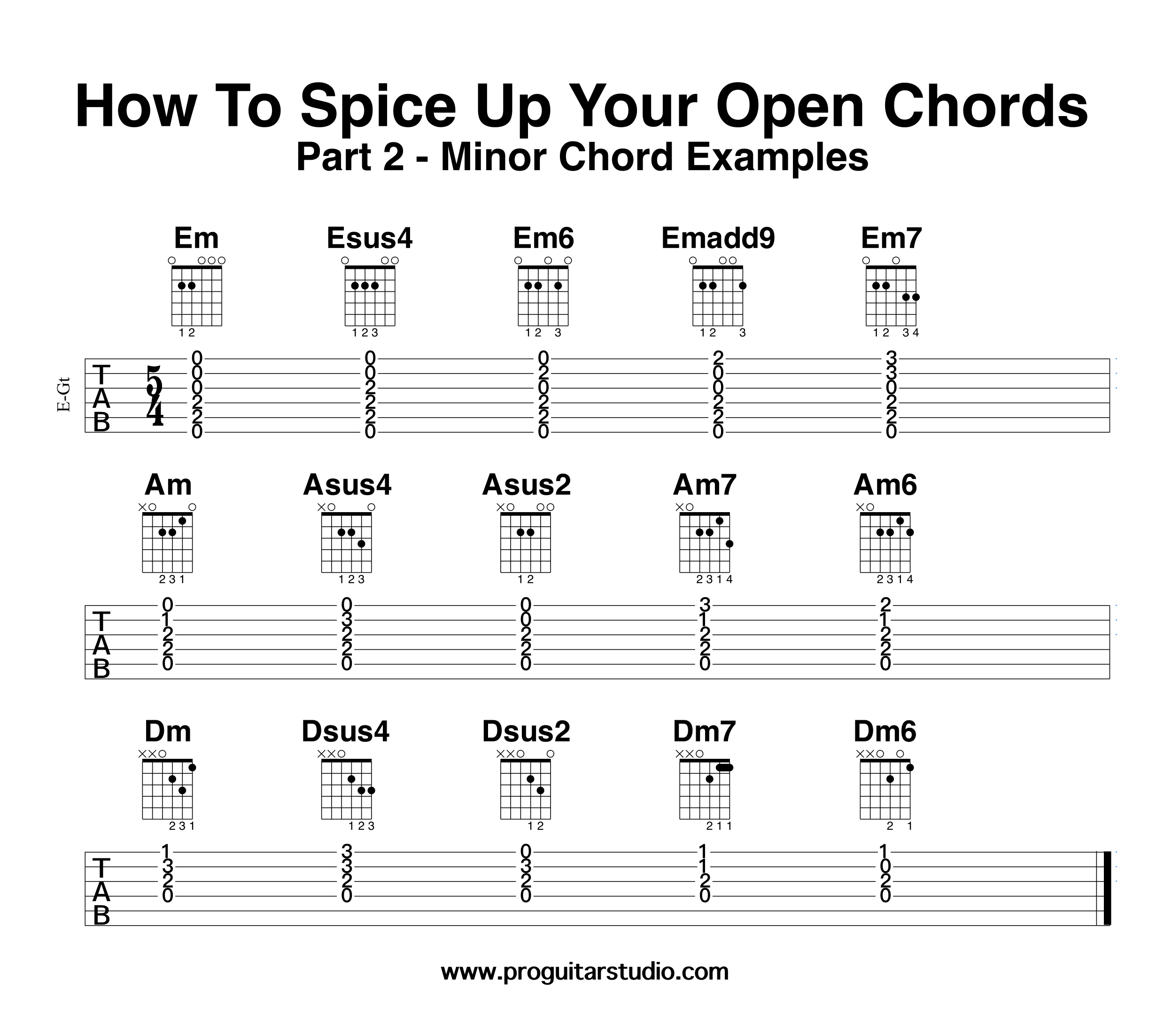 How to spice up your open chords part 2 guitar lessons i hope youve enjoyed working with these ideas but the important part of this lesson is to help you make up your own creations using these ideas as a hexwebz Images